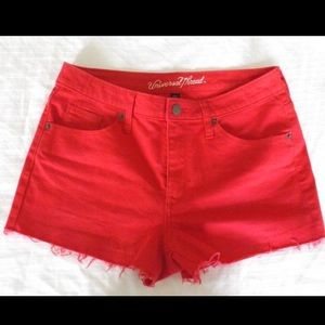 Red cut off shorts